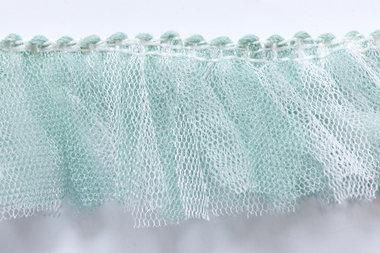 Tule franjeband mint-wit ca. 35 mm (ca. 10 meter)