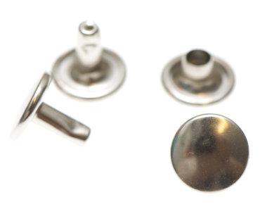 Holniet nikkelkleurig staal 9 mm met dubbele kop (ca. 1000 sets)