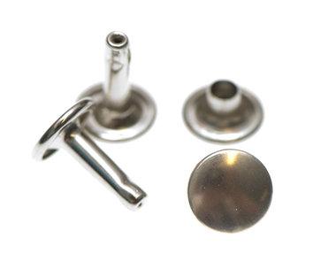 Holniet nikkelkleurig staal 9 mm met dubbele kop - lange pin (ca. 1000 sets)