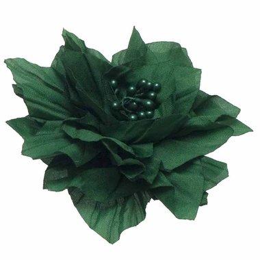Bloem XL stof met 'hart' groen ca. 9 cm (5 stuks)