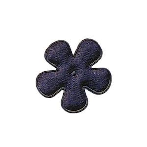 Applicatie bloem donker blauw satijn effen klein 25 mm (ca. 25 stuks)