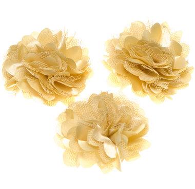 Bloem stof geelgoud ca. 5 cm (5 stuks)