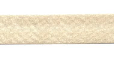 Beige gevouwen satijnen biaisband 20 mm (25 meter)