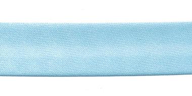 Licht blauw gevouwen satijnen biaisband 20 mm (25 meter)
