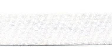 Wit gevouwen satijnen biaisband 20 mm (25 meter)