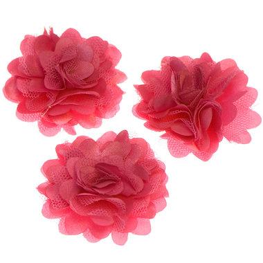 Bloem stof hard roze ca. 5 cm (5 stuks)
