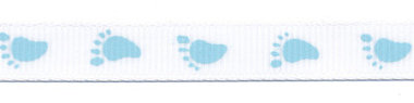 Wit grosgrainband met blauwe voetjes 10 mm (ca. 20 m)
