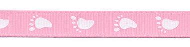 Roze grosgrainband met witte voetjes 10 mm (ca. 20 m)