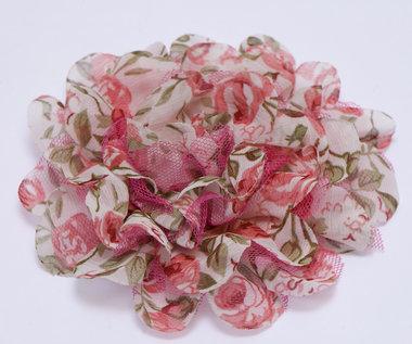 Bloem XL mix tule en bloemenprint stof meloen ca. 12 cm (5 stuks)