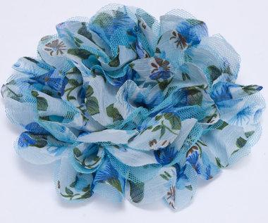 Bloem XL mix tule en bloemenprint stof blauw ca. 12 cm (5 stuks)