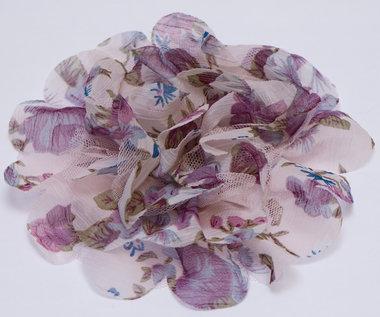 Bloem XL mix tule en bloemenprint stof paars ca. 12 cm (5 stuks)