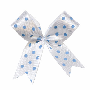 Satijnen strik wit met licht blauwe stip 40x45 mm (ca. 100 stuks)