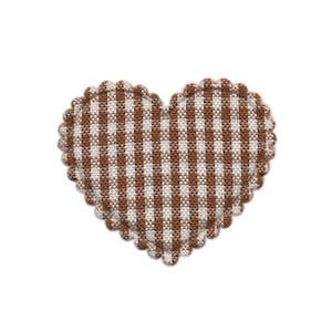 Applicatie ruitjes hart bruin middel 35 x 30 mm (ca. 100 stuks)