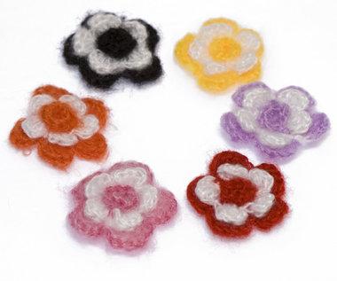 Winterse gehaakte bloemen MIX KLEUREN ca. 35 mm (ca. 50 stuks)
