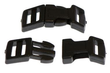 Gebogen klikgesp zwart kunststof 15 mm (10 stuks)