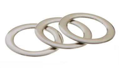 Metalen platte O-ring zilverkleurig LUXE uitvoering 25 mm (ca. 25 stuks)