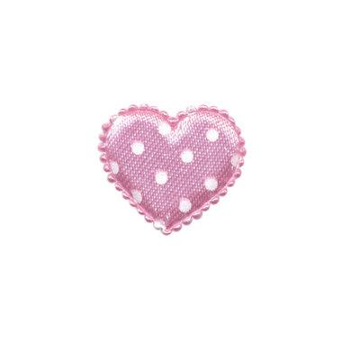 Applicatie hart roze met witte stippen satijn klein 25 x 20 mm (ca. 100 stuks)
