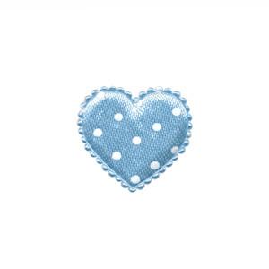 Applicatie hart licht blauw met witte stippen satijn klein 20 x 20 mm (ca. 100 stuks)