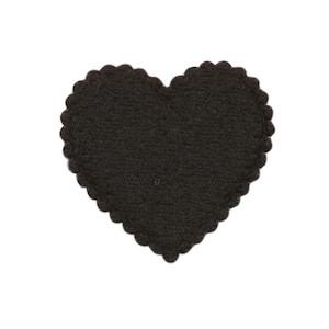 Applicatie hart zwart vilt middel 35 x 35 mm (ca. 100 stuks)
