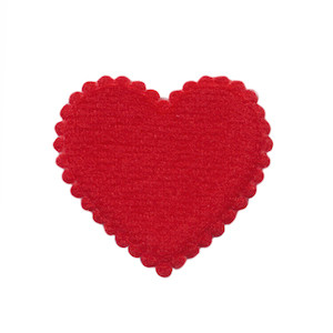 Applicatie hart rood vilt middel 35 x 35 mm (ca. 100 stuks)