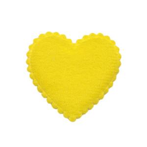 Applicatie hart geel vilt middel 35 x 35 mm (ca. 100 stuks)