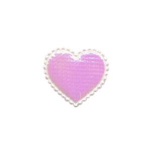 Applicatie glim hart wit/roze klein 20 x 20 mm (ca. 100 stuks)