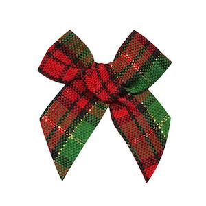 Kerststrik geruit zwart-rood-groen-goud (ca. 25 stuks)