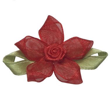 Roosje satijn rood op rood organza bloem 50 mm (10 stuks)