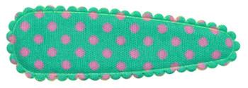 Haarkniphoesje mintgroen met roze stip / polkadot 5 cm (ca. 100 stuks)