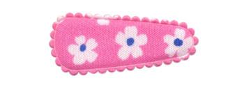 Haarkniphoesje roze met bloem 3 cm (ca. 100 stuks)