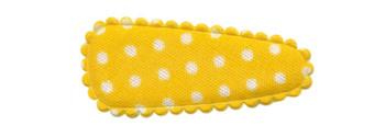 Haarkniphoesje geel met witte stip / polkadot 3 cm (ca. 100 stuks)