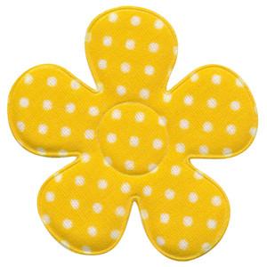 Applicatie bloem geel met witte stippen katoen groot 45 mm (ca. 100 stuks)