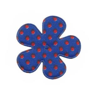 Applicatie bloem kobalt blauw met rode stip katoen middel 35 mm (ca. 100 stuks)