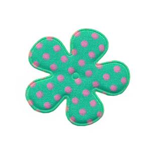 Applicatie bloem mintgroen met roze stip katoen middel 35 mm (ca. 100 stuks)
