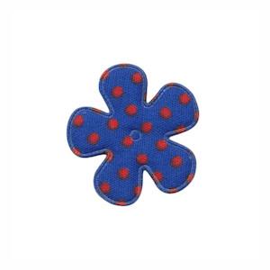 Applicatie bloem kobalt blauw met rode stippen katoen klein 25 mm (ca. 100 stuks)