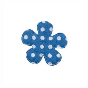 Applicatie bloem petrol met witte stippen katoen klein 25 mm (ca. 100 stuks)