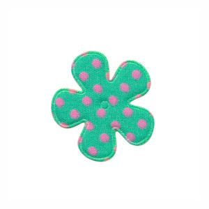 Applicatie bloem mintgroen met roze stippen katoen klein 25 mm (ca. 100 stuks)