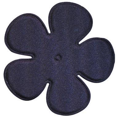 Applicatie bloem donker blauw satijn effen EXTRA GROOT 65 mm (ca. 100 stuks)