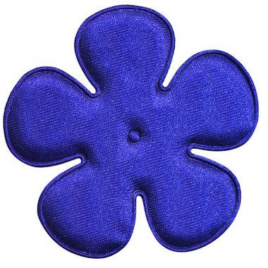 Applicatie bloem kobalt blauw satijn effen EXTRA GROOT 65 mm (ca. 100 stuks)