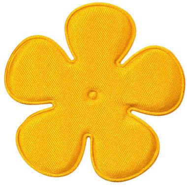 Applicatie bloem warm geel satijn effen EXTRA GROOT 65 mm (ca. 100 stuks)