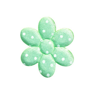 Applicatie bloem mintgroen satijn met witte stip middel 30 mm (ca. 100 stuks)