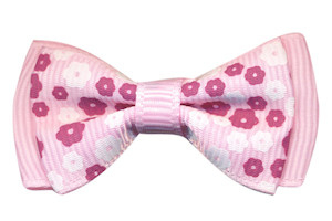 Strikje grosgrain roze met bloemenprintje 45x25 mm (10 stuks)
