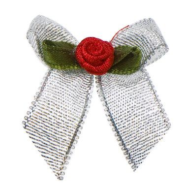 Zilveren strik met rood roosje op blad (25 stuks)