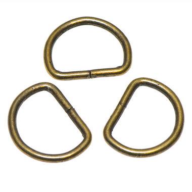 Metalen D-ring bronskleurig ZWAAR 30 mm (ca. 25 stuks)