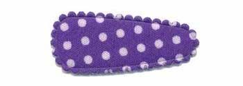 Haarknip met haarkniphoesje paars met witte stip / polkadot 3 cm (ca. 100 stuks)