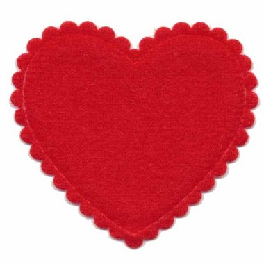Applicatie vilt hart rood groot 45 x 45 mm (ca. 100 stuks)