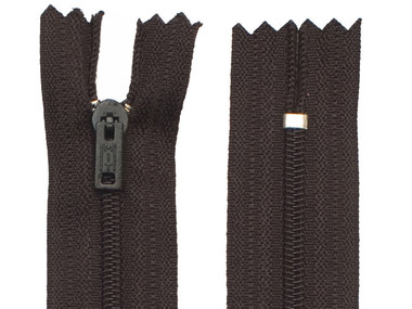 Niet-deelbare nylon rits 3 mm zwart (#580) 22,5 cm (12 stuks)