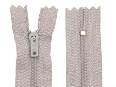 Niet-deelbare nylon rits 3 mm licht grijs (#336) 12,5 cm (12 stuks)