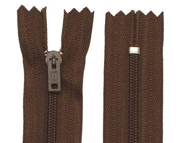 Niet-deelbare nylon rits 3 mm bruin (#570) 22,5 cm (12 stuks)