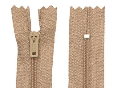 Niet-deelbare nylon rits 3 mm beige/zandkleurig (#573) 20 cm (12 stuks)